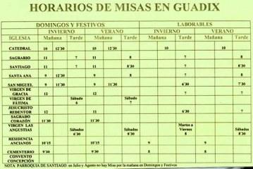 Horario de misas en Guadix (Granada)