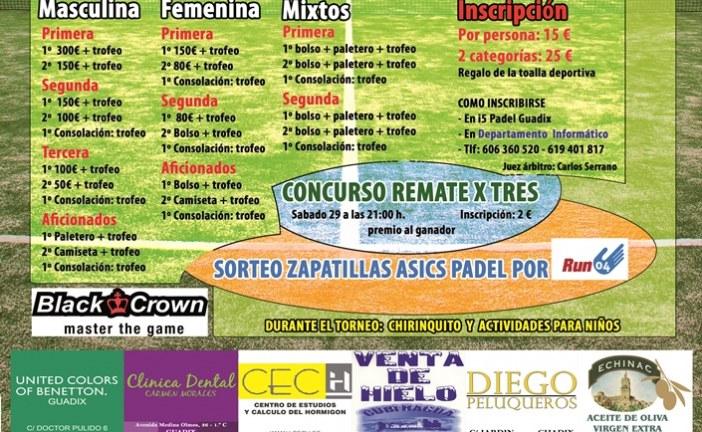 Torneo de padel organizado por el Guadix C.F en su 80 Aniversario – 28 al 30 de Junio