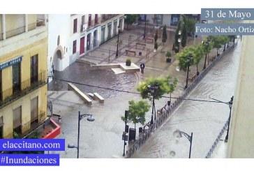 [Tal día como hoy de 2.014] Inundaciones tras la fuerte lluvia de esta tarde en el entorno del Arco de San Torcuato