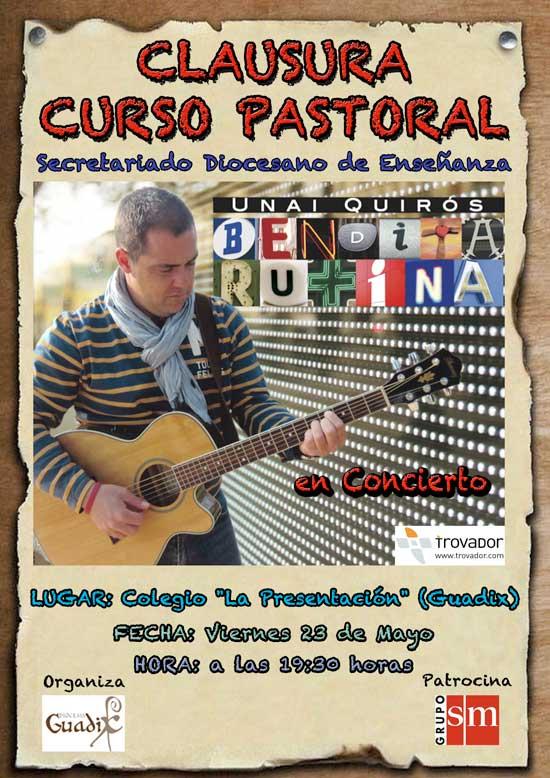 El cantante Unai Quirós visita Guadix para clausurar con un concierto el curso pastoral