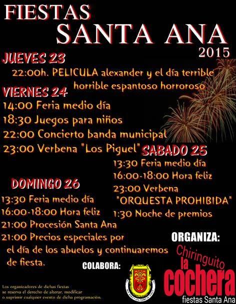 Programa fiestas de santa ana