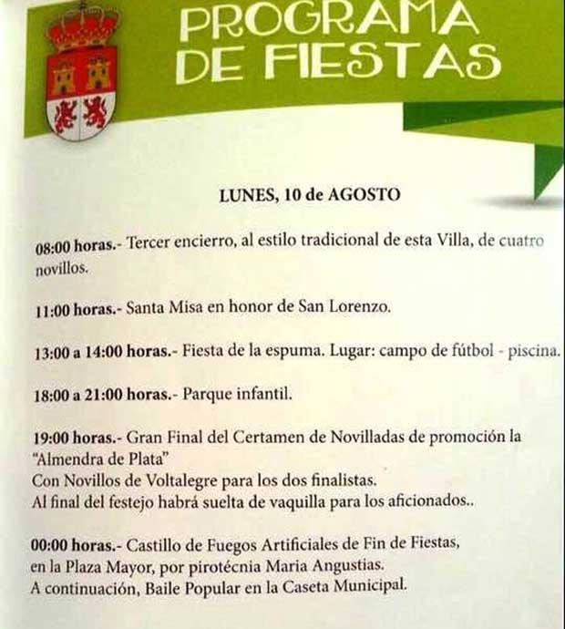Programa fiestas de Gor 10 de Agosto