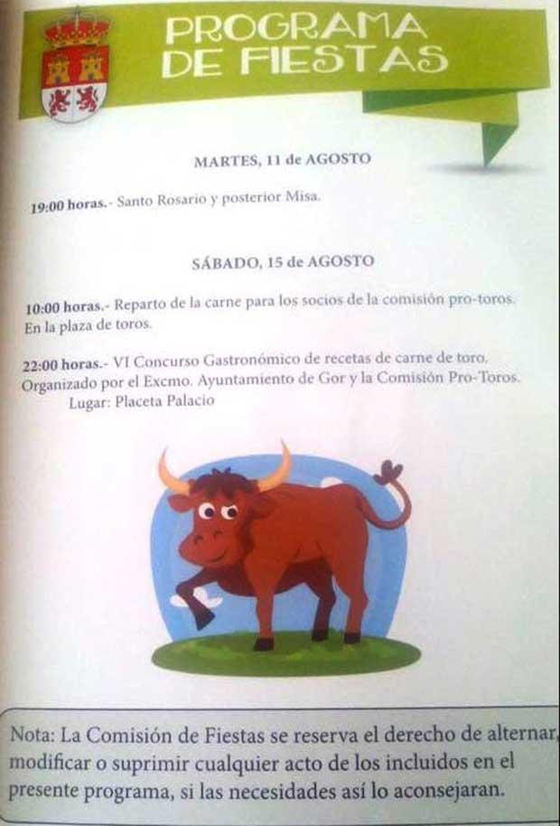 Programa fiestas de Gor 11 y 15 de Agosto