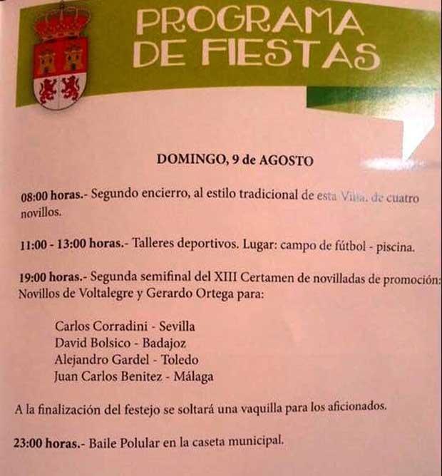 Programa fiestas de Gor 9 de Agosto