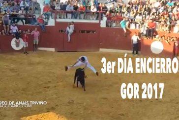 Tercer día de los encierros de Gor con mortales, recortes y risas en la última vaquilla