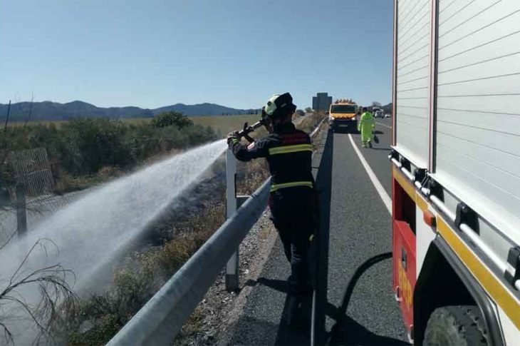 Los Bomberos de Guadix sofocan un incendio en la cuneta de la autovía A-92