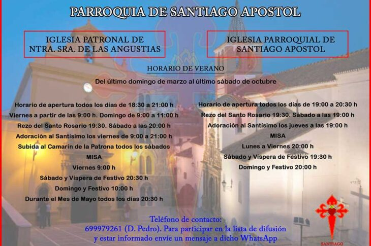 Horarios de la Iglesia parroquial de Santiago Apóstol Guadix e Iglesia patronal de Nuestra Señora de las Angustias