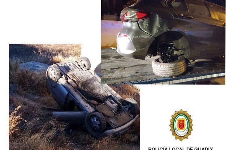 La Policía local de Guadix informa de dos aparatosos accidentes sin heridos