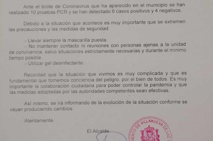 El Ayuntamiento de Villanueva de las Torres informa de 6 casos positivos por Covid-19