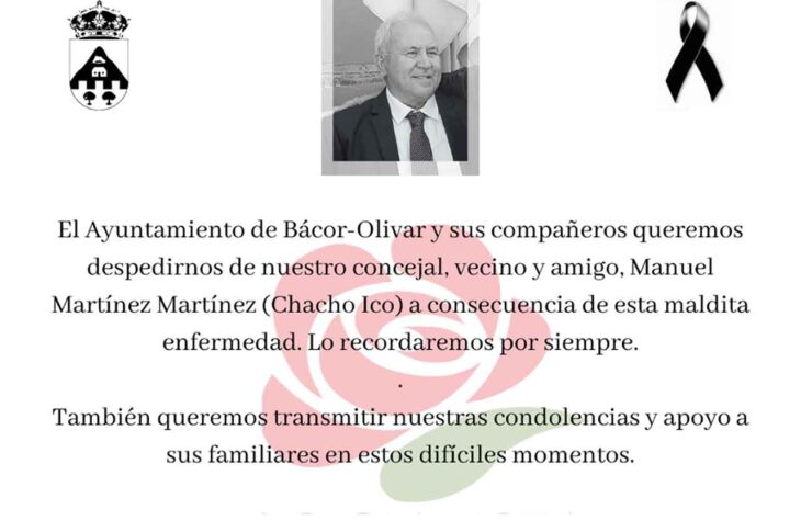 Fallece por Covid concejal de Bácor - Olivar