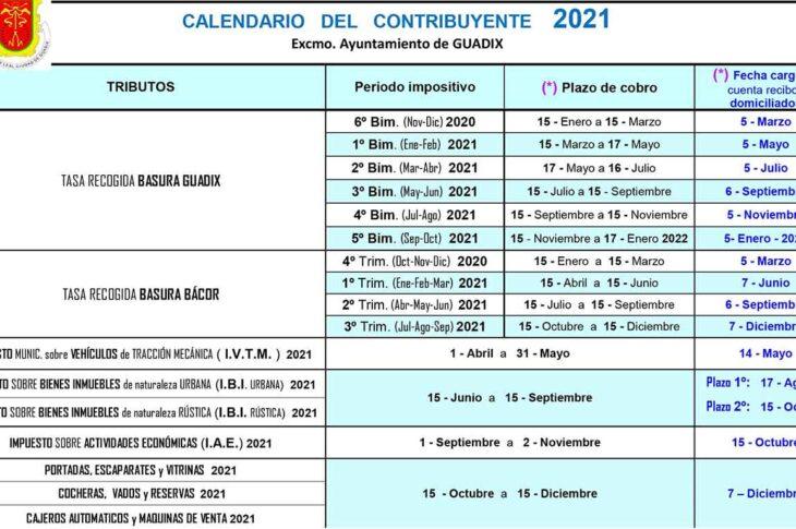 El Ayuntamiento de Guadix da a conocer el calendario del contribuyente del año 2021