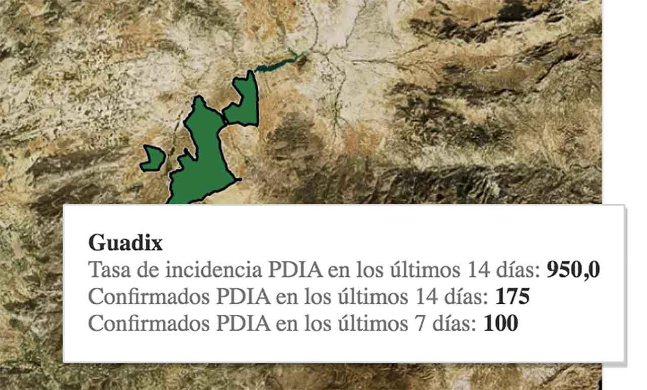 950 casos por cada 100.000 habitantes es la tasa de hoy en Guadix
