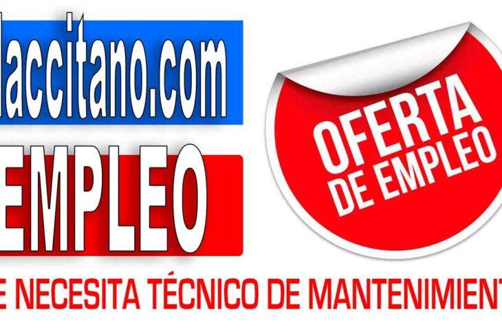 Oferta de empleo técnico de mantenimiento