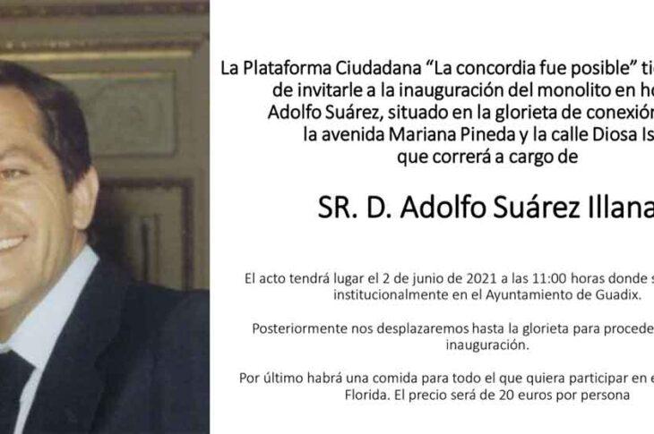 El diputado nacional Adolfo Suárez Illana inaugura este miércoles en Guadix el monolito dedicado a su padre, Adolfo Suárez