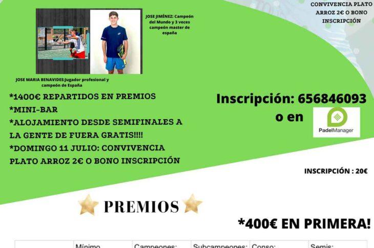 TORNEO de PADEL - Start Summer en Alcudia de Guadix del 8 al 11 de Julio